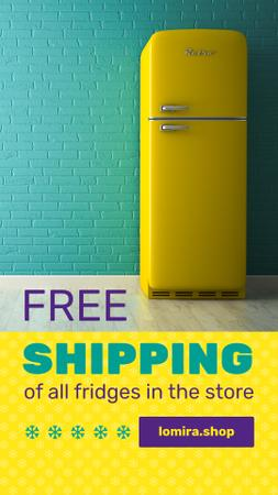 Sale Offer Yellow Fridge by Blue Brick Wall Instagram Story Modelo de Design