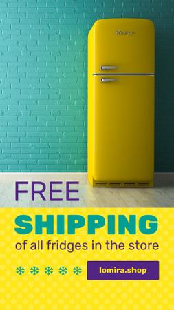 Sale Offer Yellow Fridge by Blue Brick Wall Instagram Story – шаблон для дизайна