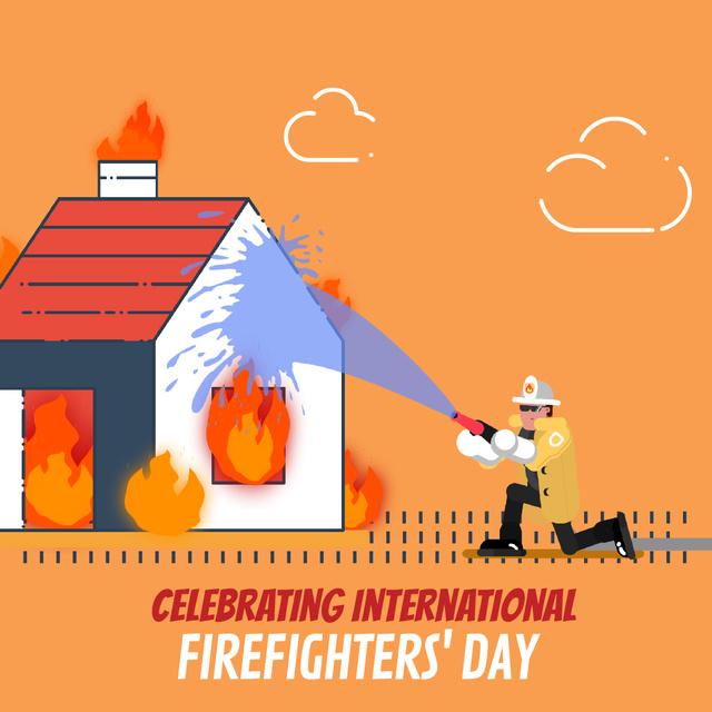 Designvorlage Firefighter Extinguishes a Burning House für Animated Post