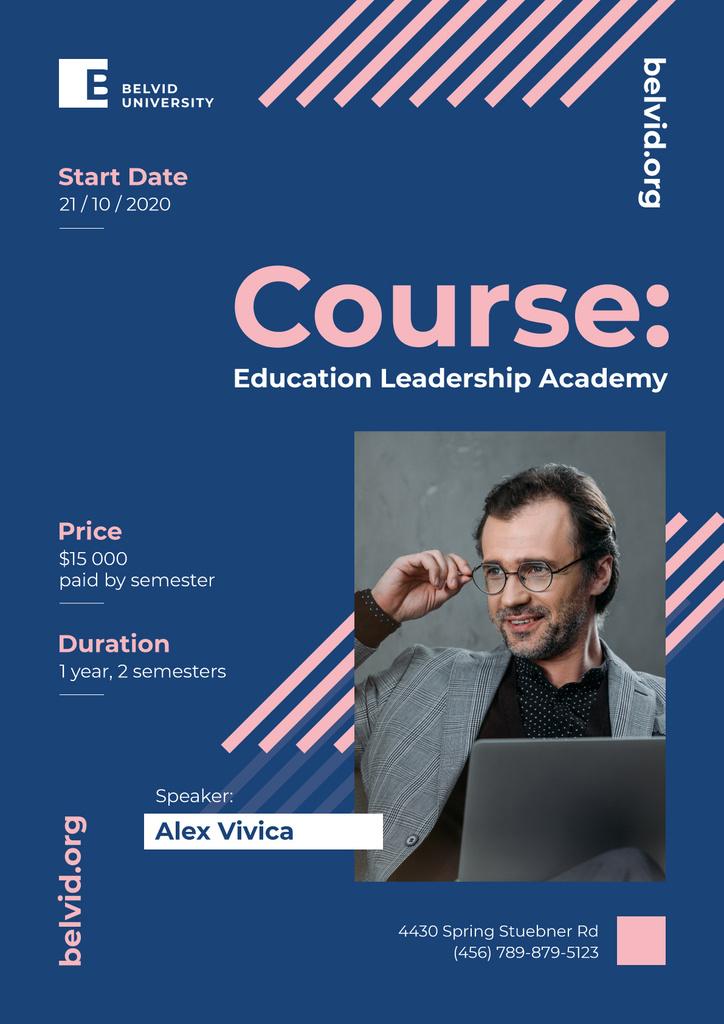 Business Course Announcement Man Working on Laptop | Poster Template — ein Design erstellen