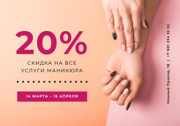 Manicure Services Offer with Tender Female Hands
