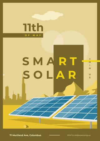 Solar panels in rows for Ecology conference Invitation – шаблон для дизайна