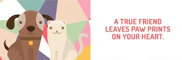 Pets Quote Cute Dog and Cat | Twitter Header Template