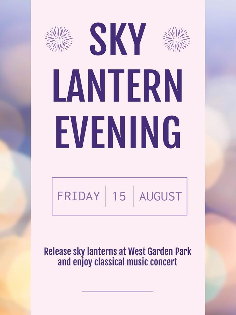 Sky lantern evening announcement on bokeh — Modelo de projeto