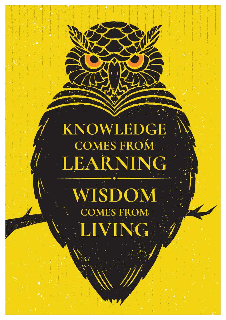 Knowledge quote with owl — Crear un diseño