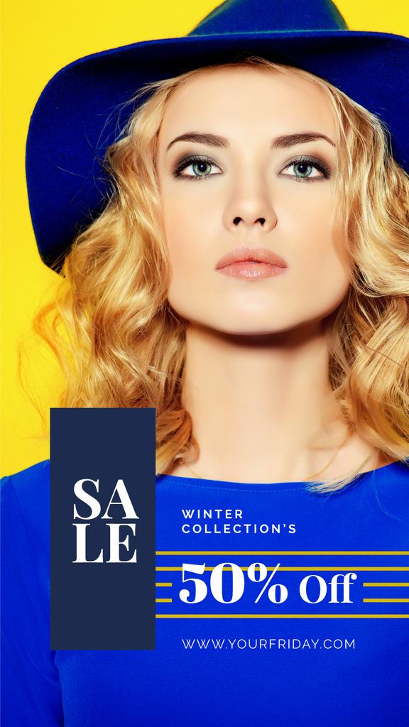 Young attractive woman wearing hat — ein Design erstellen