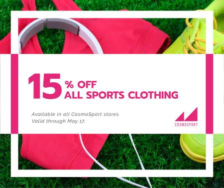 Sports clothing sale ad with Headphones and Sneakers Facebook Modelo de Design