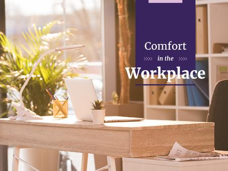 Designvorlage Comfortable Workplace Ad für Presentation