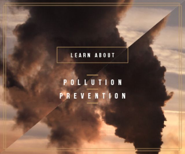 Air Pollution Smoke from Industrial Chimney Medium Rectangle Tasarım Şablonu