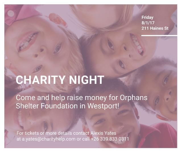 Ontwerpsjabloon van Facebook van Happy kids in circle on Charity Night