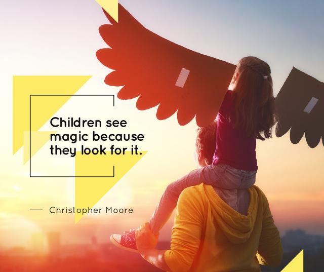 Father Playing Bird with Daughter Facebook Modelo de Design