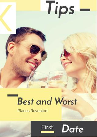 Happy Couple drinking Wine Poster Design Template