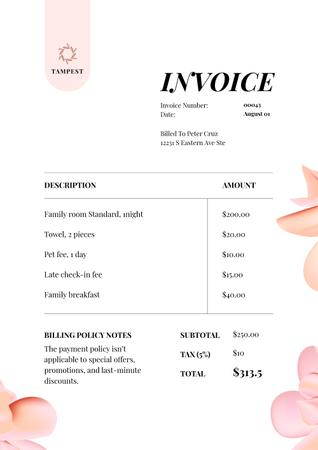 Ontwerpsjabloon van Invoice van Hotel Services with Floral Pattern