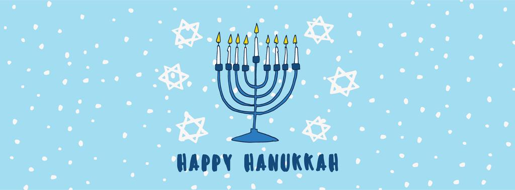 Happy Hanukkah Greeting Menorah in Blue — Modelo de projeto