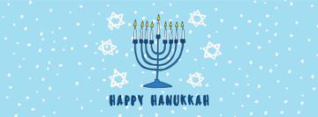 Happy Hanukkah Greeting Menorah in Blue | Facebook Cover Template