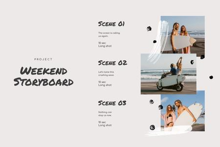 Plantilla de diseño de Happy Couple on Vacation by the Sea Storyboard