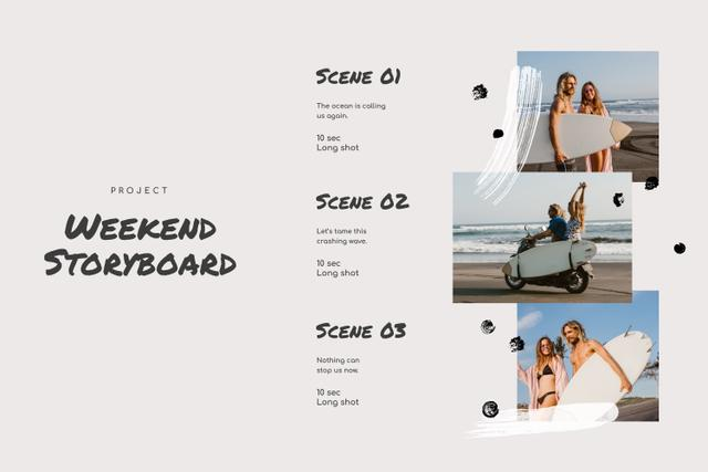 Happy Couple on Vacation by the Sea Storyboard Design Template