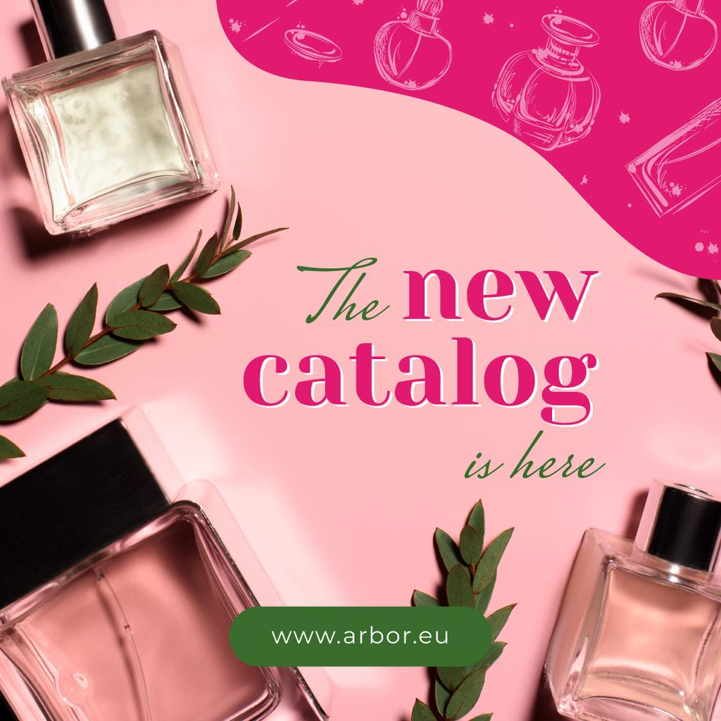 Glass bottles with Perfume for catalog in pink —デザインを作成する