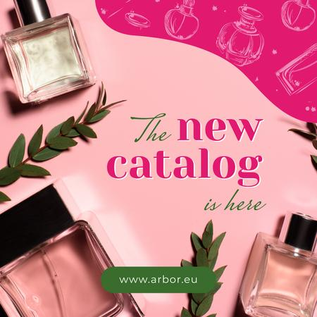 Glass bottles with Perfume for catalog in pink Instagram AD Modelo de Design