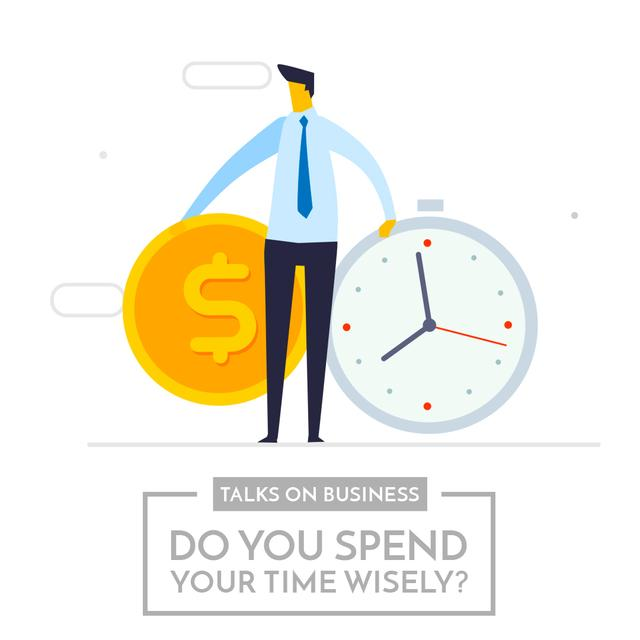 Businessman valuing his time Animated Post Design Template