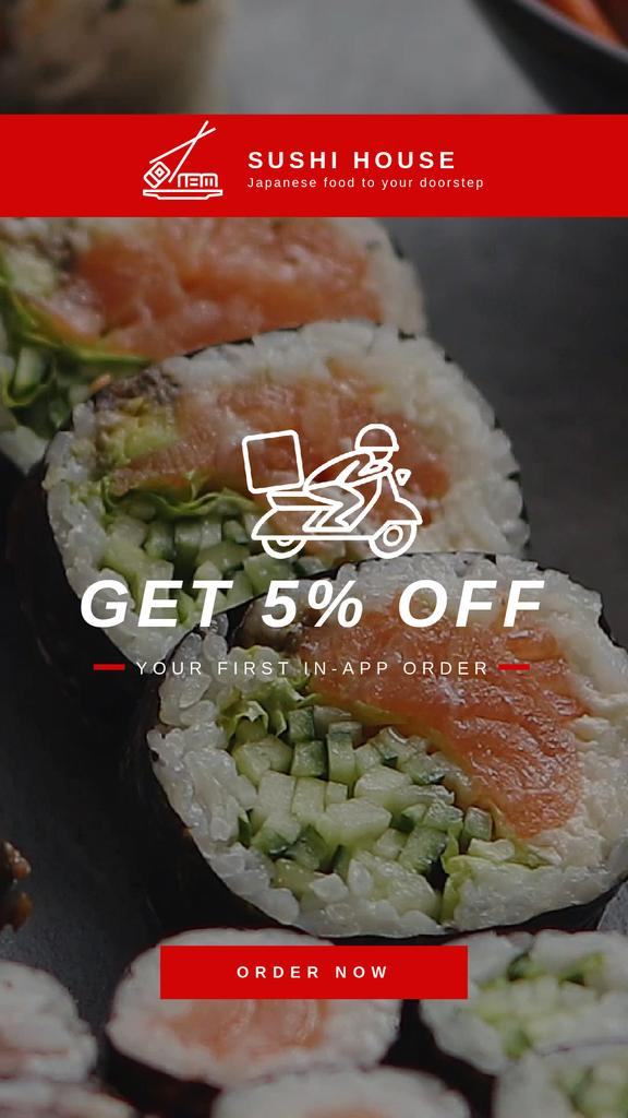 Food Delivery App Sushi Set | Vertical Video Template — Створити дизайн
