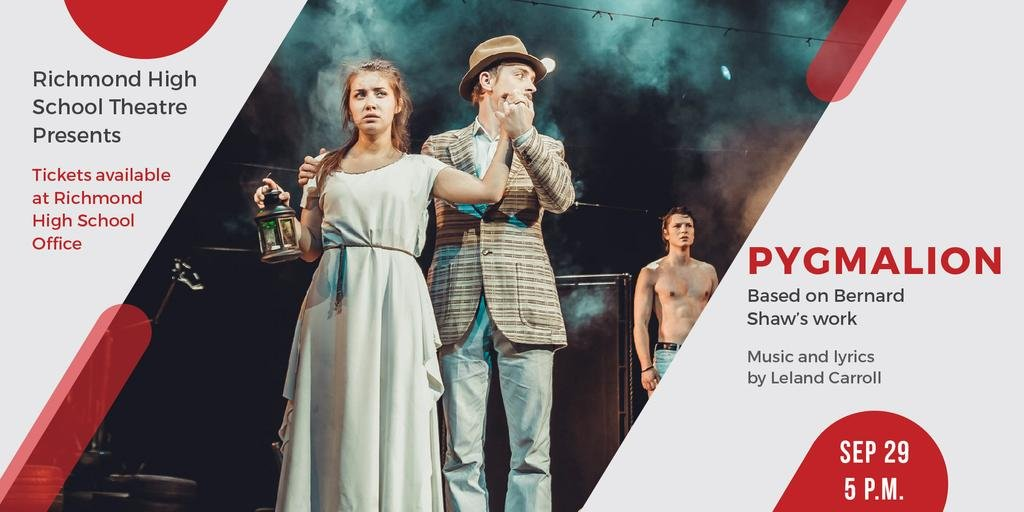Theater Invitation Actors in Pygmalion Performance | Twitter Post Template — Maak een ontwerp