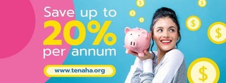 Savings Service Ad with Woman Holding Piggy Bank Facebook coverデザインテンプレート
