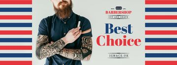Professional barber holding razor