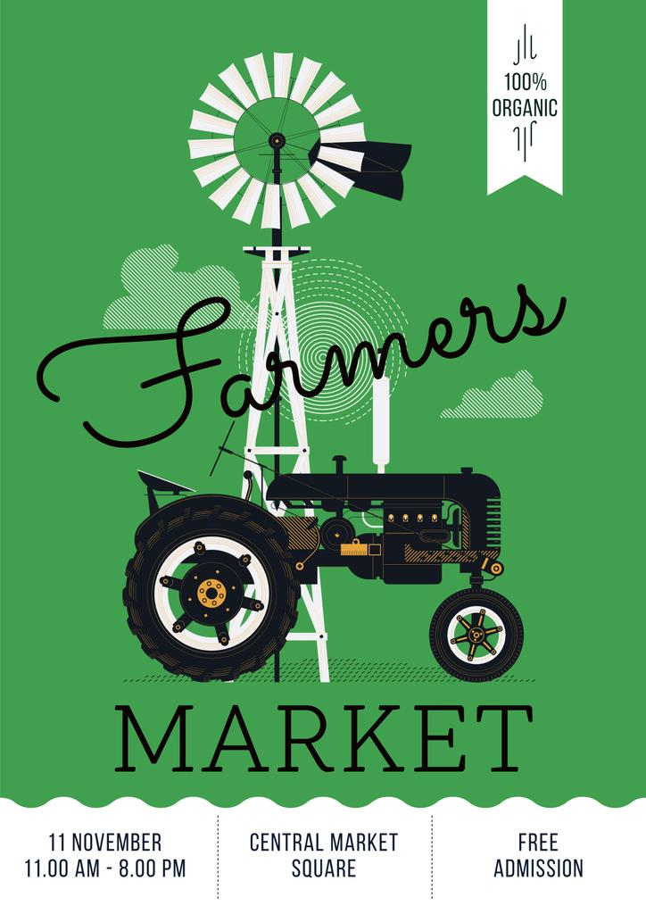 Farmers market poster with tractor — Создать дизайн