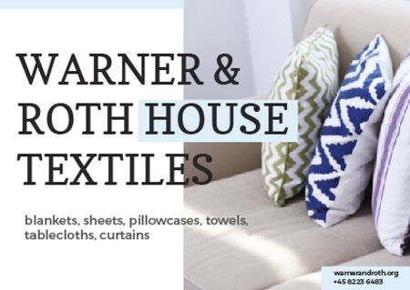 Home Textiles Ad Pillows on Sofa Postcard Design Template