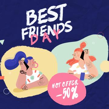 Best Friends Day Offer Girls Talking on Phone | Square Video Template