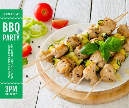 Szablon projektu BBQ Party Invitation Grilled Chicken on Skewers Large Rectangle