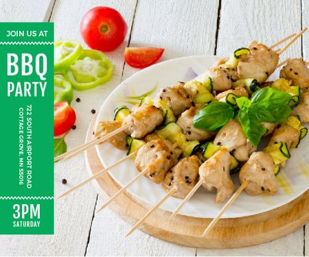 BBQ Party Invitation Grilled Chicken on Skewers Large Rectangle Modelo de Design