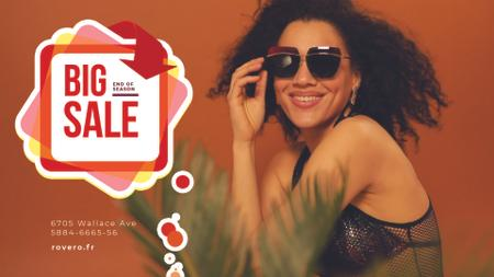 Plantilla de diseño de Fashion Sale Ad Woman in Sunglasses Full HD video