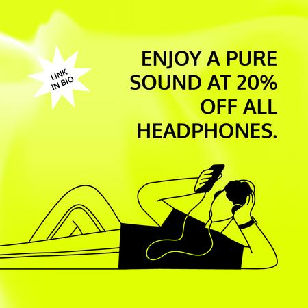 Plantilla de diseño de Headphones Sale with Man listening to Music Instagram