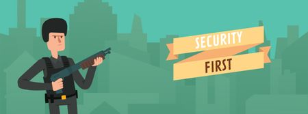 Template di design Security Officer Shooting with Gun Facebook Video cover