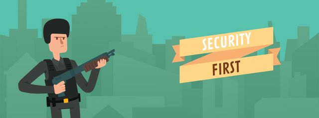 Ontwerpsjabloon van Facebook Video cover van Security Officer Shooting with Gun