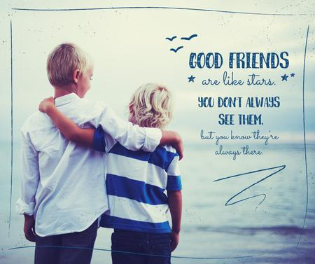 Children hugging on seashore Facebook Design Template