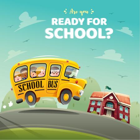 Modèle de visuel Kids taking School Bus - Instagram AD
