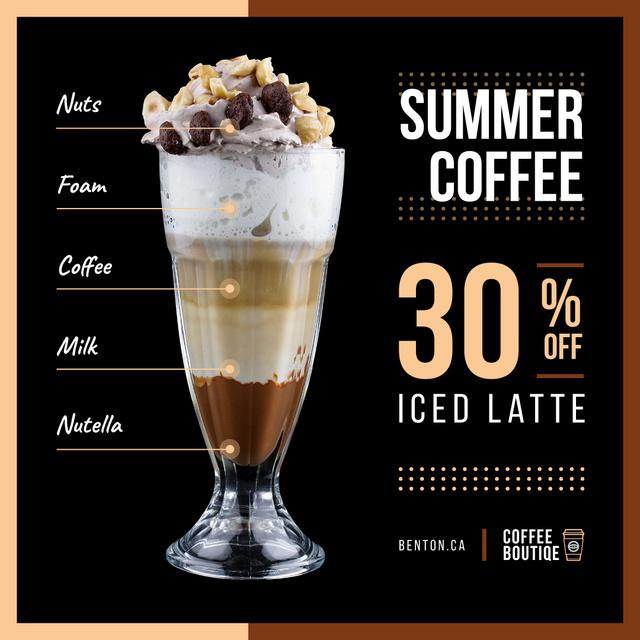 Designvorlage Coffee Shop Promotion with Latte Drink für Instagram