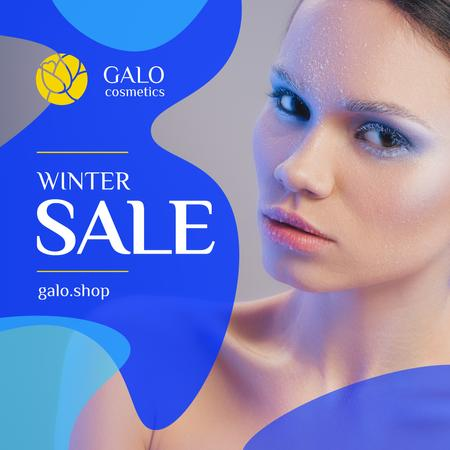 Cosmetics Sale Woman with Creative Winter Makeup Instagram AD Modelo de Design