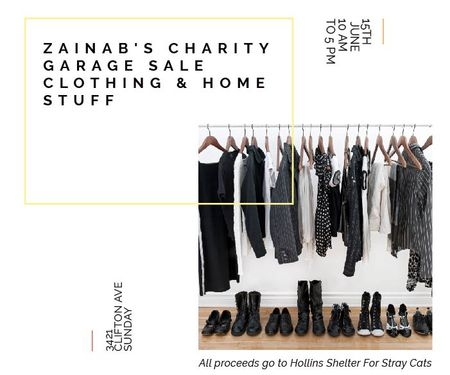Ontwerpsjabloon van Large Rectangle van Charity Sale Announcement Black Clothes on Hangers