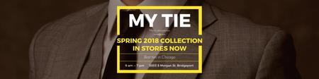 Tie store Ad with Man in Suit Twitterデザインテンプレート