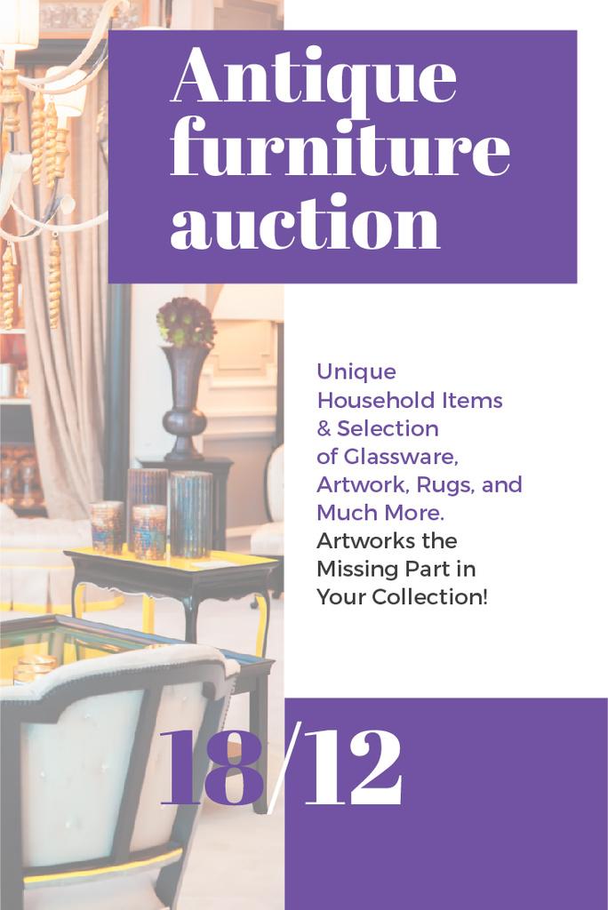 Antique Furniture Auction Vintage Wooden Pieces | Pinterest Template — Створити дизайн