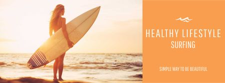 Ontwerpsjabloon van Facebook cover van Summer Vacation Offer with Woman holding Surfboard