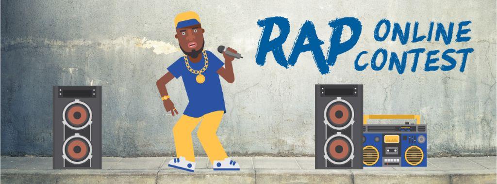 Rap Contest Announcement Man Performing with Microphone — Crea un design