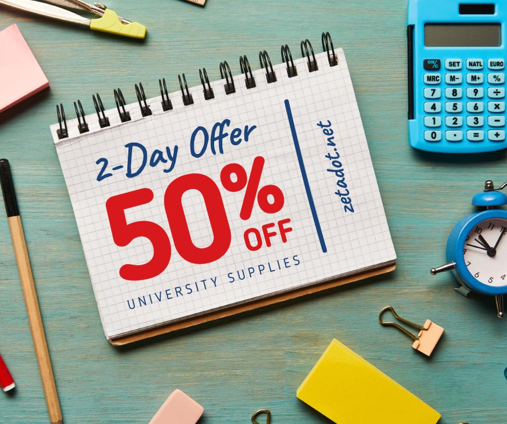 Modèle de visuel Sale announcement School Stationery on Table - Facebook