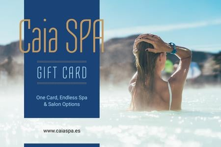 Template di design Spa Offer with Woman Relaxing in Hot Water Gift Certificate