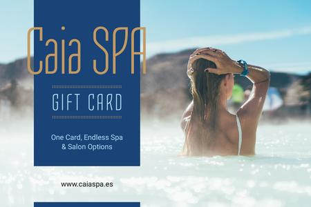 Spa Offer with Woman Relaxing in Hot Water Gift Certificate Modelo de Design