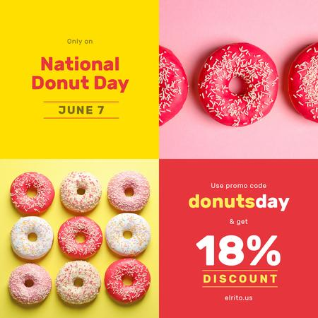 Ontwerpsjabloon van Instagram van Delicious glazed donuts on National Donut Day